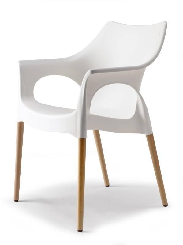 Ol48 wit kunststof stoel met beuken poten buroburo - Chaise blanche en bois ...
